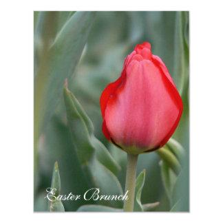 Invitaciones rojas del brunch de Pascua del Invitación 10,8 X 13,9 Cm