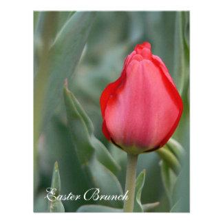Invitaciones rojas del brunch de Pascua del tulipá Anuncio Personalizado