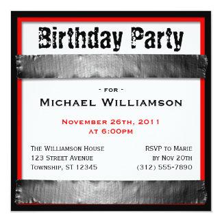 Invitaciones rojas del cumpleaños de los hombres invitaciones personalizada