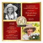 Invitaciones rojas del cumpleaños del oro entonces anuncios personalizados
