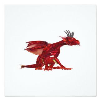 """Invitaciones rojas del dragón invitación 5.25"""" x 5.25"""""""