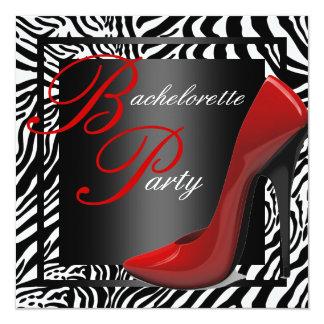 Invitaciones rojas del fiesta de Bachelorette de Invitación