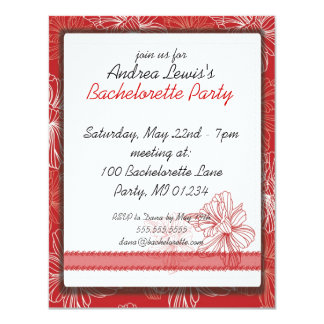 Invitaciones rojas del fiesta de Bachelorette del Invitación 10,8 X 13,9 Cm