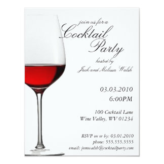 """Invitaciones rojas del fiesta del cóctel del vino invitación 4.25"""" x 5.5"""""""