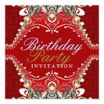 Invitaciones rojas exóticas de la fiesta de comunicados