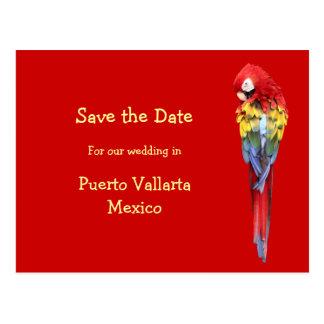 Invitaciones rojas exóticas del boda del destino postal