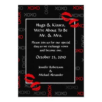 """Invitaciones rojas negras del boda de los abrazos invitación 5"""" x 7"""""""