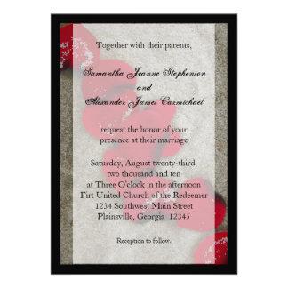 Invitaciones rojas negras del boda de playa de los
