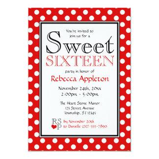 Invitaciones rojas y blancas del lunar del dulce anuncio personalizado