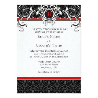 Invitaciones rojas y negras de A6 del damasco del Invitación 11,4 X 15,8 Cm