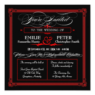 """Invitaciones rojas y negras del boda del estilo invitación 5.25"""" x 5.25"""""""