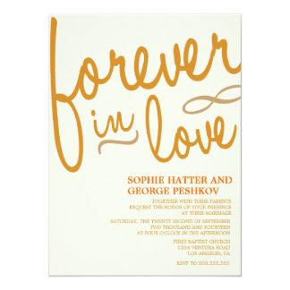 Invitaciones románticas anaranjadas del boda invitación 13,9 x 19,0 cm