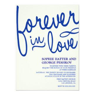Invitaciones románticas del boda del azul real invitación 13,9 x 19,0 cm
