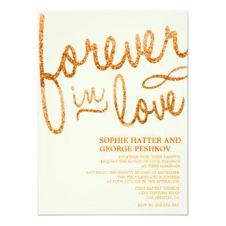 Invitaciones románticas del boda del brillo invitación 13,9 x 19,0 cm