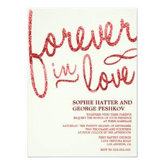 Invitaciones románticas del boda del brillo rojo invitación 13,9 x 19,0 cm