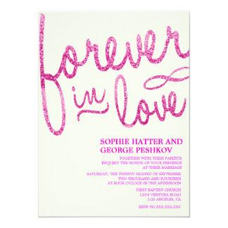 Invitaciones románticas del boda del brillo rosado invitación 13,9 x 19,0 cm