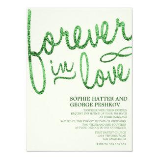 Invitaciones románticas del boda del brillo verde invitación 13,9 x 19,0 cm