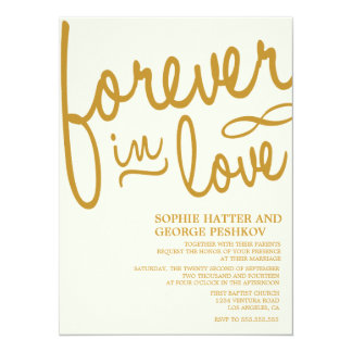 Invitaciones románticas del boda del oro invitación 13,9 x 19,0 cm
