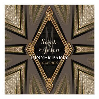 Invitaciones románticas del fiesta de cena de Gold