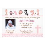 Invitaciones rosadas adorables lindas 5x7 del baut invitacion personalizada
