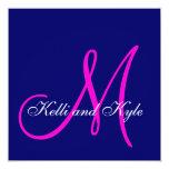 Invitaciones rosadas azules del boda del monograma invitacion personalizada