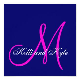 """Invitaciones rosadas azules del boda del monograma invitación 5.25"""" x 5.25"""""""