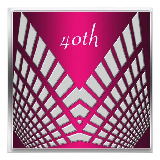 """Invitaciones rosadas candentes de la fiesta de invitación 5.25"""" x 5.25"""""""
