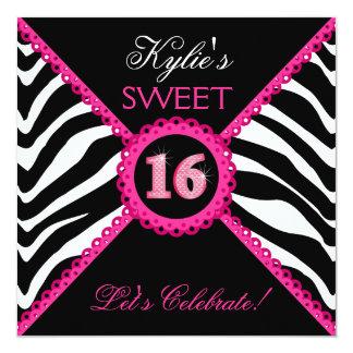Invitaciones rosadas de Bling del cordón del dulce Invitación 13,3 Cm X 13,3cm