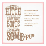 Invitaciones rosadas de la bota de vaquero invitación