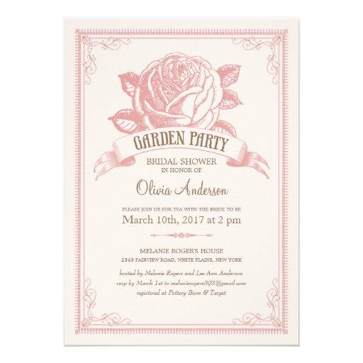 Invitaciones rosadas de la ducha de la fiesta de j comunicado personalizado