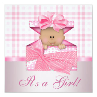 Invitaciones rosadas de la ducha de la niña de la comunicados