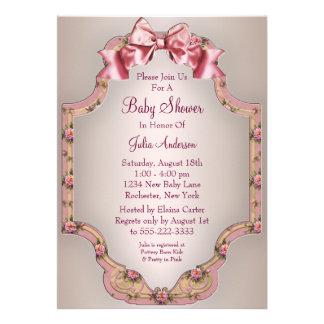 Invitaciones rosadas de la ducha de la niña de los comunicados