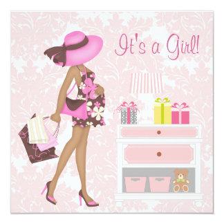 Invitaciones rosadas de la ducha de la niña del comunicado personalizado
