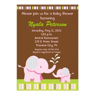 Invitaciones rosadas de la ducha del elefante del  invitaciones personalizada