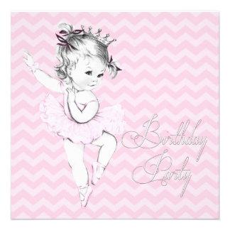 Invitaciones rosadas de la fiesta de cumpleaños de anuncio personalizado