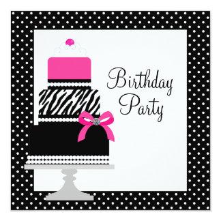 """Invitaciones rosadas de la fiesta de cumpleaños de invitación 5.25"""" x 5.25"""""""