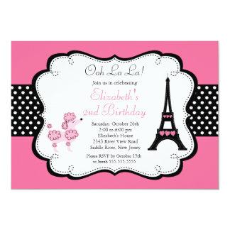 """Invitaciones rosadas de la fiesta de cumpleaños invitación 5"""" x 7"""""""