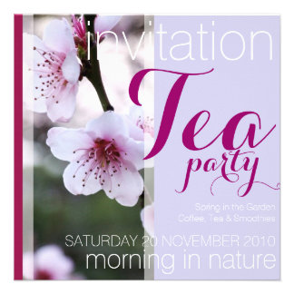 Invitaciones rosadas de la fiesta del té de la pri invitaciones personalizada