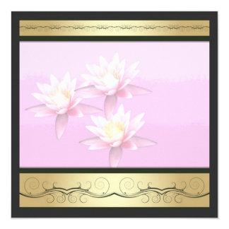 """Invitaciones rosadas de la flor de loto invitación 5.25"""" x 5.25"""""""