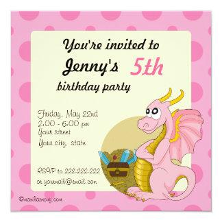 """Invitaciones rosadas de la impresión del invitación 5.25"""" x 5.25"""""""