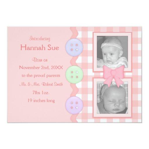 Invitaciones rosadas de la niña de la guinga comunicado personal