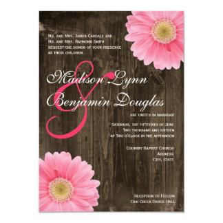 """Invitaciones rosadas de madera del boda de la invitación 4.5"""" x 6.25"""""""