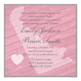 """Invitaciones rosadas de madera rústicas del boda invitación 5.25"""" x 5.25"""""""