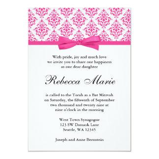 """Invitaciones rosadas de Mitzvah del palo del arco Invitación 5"""" X 7"""""""