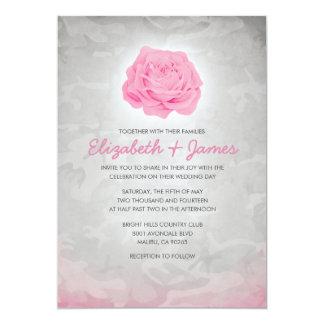 """Invitaciones rosadas de moda del boda de Camo Invitación 5"""" X 7"""""""