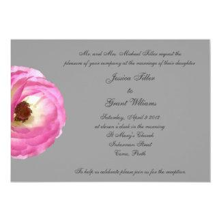 Invitaciones rosadas del boda de la amapola invitación 12,7 x 17,8 cm