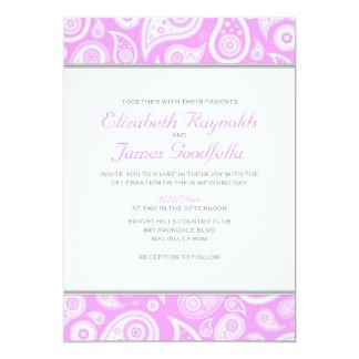 """Invitaciones rosadas del boda de Paisley Invitación 5"""" X 7"""""""
