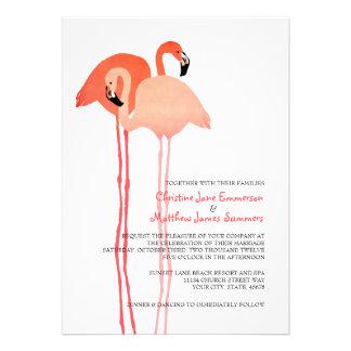 Invitaciones rosadas del boda de playa de los flam