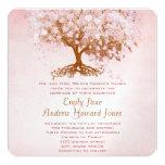 Invitaciones rosadas del boda del árbol de la hoja invitaciones personales