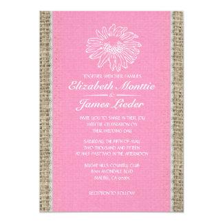 Invitaciones rosadas del boda del cordón del invitación personalizada